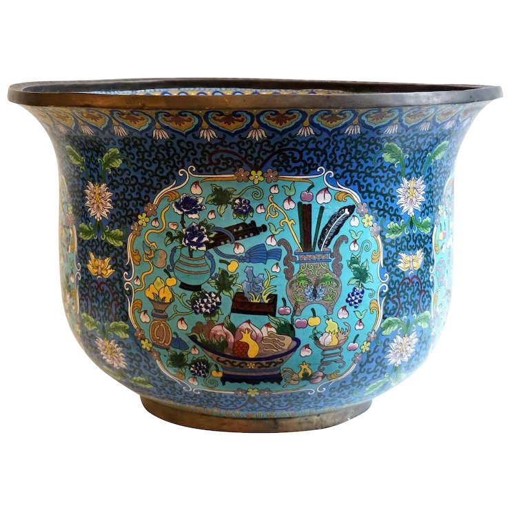 Large Chinese Cloisonne Enamel Bronze Jardiniere Fish Bowl Planter