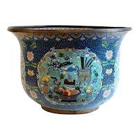 Large Chinese Cloisonné Enamel Bronze Jardinière Fish Bowl / Planter