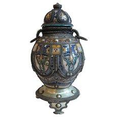 Large Moroccan Traditional Fez Metal Mounted Ceramic Urn