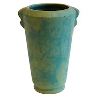 American Weller Arts and Crafts Mottled Matte Green Glaze Pottery Vase