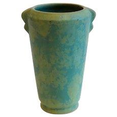 American Weller Arts and Crafts Mottled Matte Green Glaze Pottery Vase
