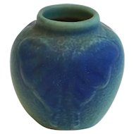 Small American Van Briggle Arts and Crafts Matte Blue Green Glaze Pottery Moth Vase
