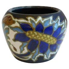Small Dutch Gouda Pottery Sonna Pattern Floral Bowl / Vase