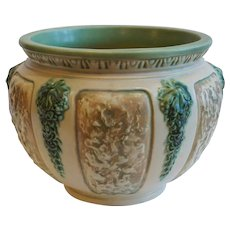 American Roseville Florentine II Pattern Ivory and Green Pottery Planter