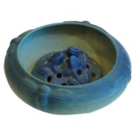 Vintage American Van Briggle Pottery Matte Blue Moth Low Bowl and Flower Frog