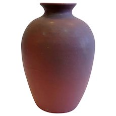Large American Van Briggle Fred Wills Arts and Crafts Matte Mulberry Glaze Pottery Vase