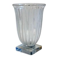 Vintage American Verlys Lance / Icicle Acid Etched Molded Glass Vase