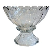 American Heisey Clear Glass Two-Part Punch Bowl