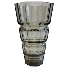 Large Josef Hoffmann for Moser Faceted Smokey Topaz Glass Vase