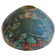 Large Rare American Pittsburgh Glass End-of-Day Glass Enamel Parrots Dome Lamp Shade