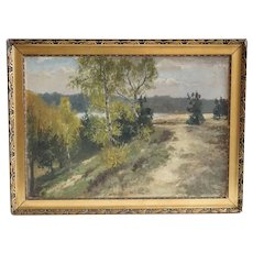 Signed Impressionist Oil on Board Painting, Landscape