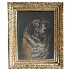 American Victorian Oil on Canvas Painting, Portrait of a Dog