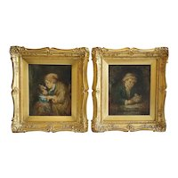 Signed Pair of Oil on Canvas Paintings, Portraits of Children