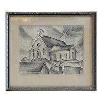 R. MANN Black and White Engraving, White Church, Ward Colorado