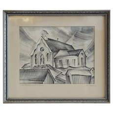 R. MANN Black and White Engraving, White Church, Ward Colorado