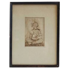 WALLY STRAUTIN Etching Print, Portrait Seated Man with Orb