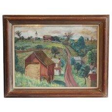 WALLY STRAUTIN Landscape Gouache on Artist Board Painting, Ferndale, Pennsylvania Countryside