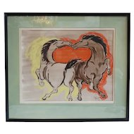 Vintage MARIAN ROBERTSON Pastel and Ink Drawing, Horses at Play