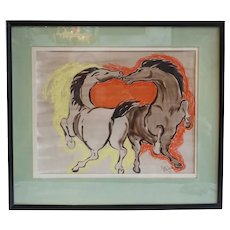 Vintage MARIAN ROBERTSON Pastel and Ink Drawing, Horses at Play