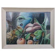 Vintage G. FRANCOIS BEULLE Gouache Surrealist Painting