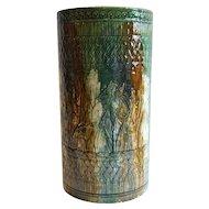 American Nelson McCoy Blended Majolica Glaze Pottery Umbrella Stand