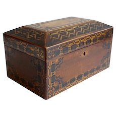 English Victorian Tunbridgeware Walnut Parquetry Desk / Jewelry Box