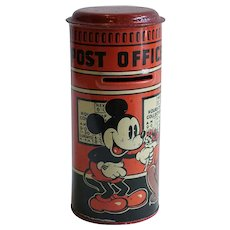 English Disney Mickey Mouse Happynak Series Tin Lithograph Toy Post Office Bank