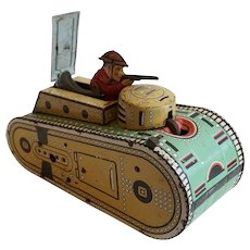Vintage American Marx WWI Doughboy Tin Lithograph Army Tank Toy