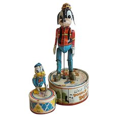 Vintage American Marx Walt Disney Tin Lithograph Donald Duck Duet Wind-Up Toy