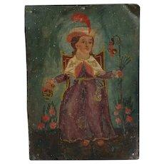 Mexican Folk Art Painted Tin Saint Santo Nino de Atocha Retablo