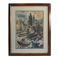 GEORGE GROSZ Color Lithograph, Manhattan