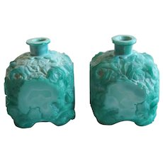 Pair Bohemian/Czech Schlevogt and Hoffmann Art Deco Malachite Glass Perfume Bottles