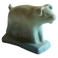 Vintage American Van Briggle Matte Green Glaze Pottery Pig Figurine