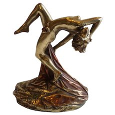 American Armor Bronze Corporation Art Deco Bronzed Plaster Dancer Statue Bookend