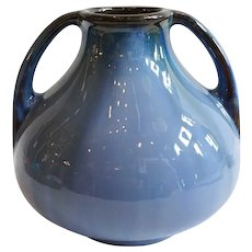 American Fulper Arts and Crafts Blue Flambe Glaze Pottery Double-Handle Vase