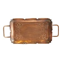 German WMF Art Nouveau Copper and Brass Two-Handle Tray