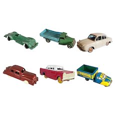 6 Vintage Tin Lithograph and Diecast Car and Truck Model Toys