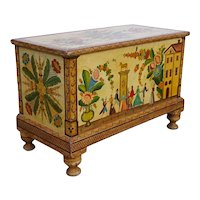 American Folk Art Painted Poplar Blanket Chest Trunk