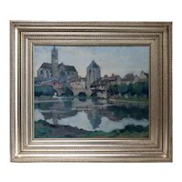 LOUIS JACQUES VIGON Oil on Canvas Painting, Cathedral along Moret-sur-Loing, France