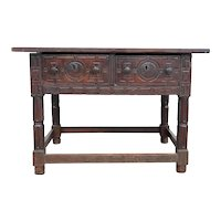 Spanish Baroque Oak and Walnut Carved Two-Drawer Table