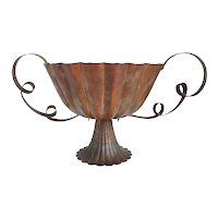 Large Vintage Vienna Secession Style Hammered Copper Centerpiece Bowl