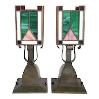 Pair of American Arts and Crafts Brass and Leaded Glass Table Lamps