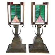 Pair of American Arts and Crafts Brass and Leaded Glass Ceiling Light Fixtures