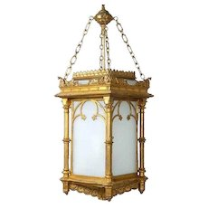 English Gothic Revival Gilt and Zinc Hanging Three-Light Hall Lantern