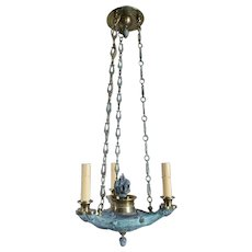 Small French Empire Style Verdigris Brass Three-Light Chandelier