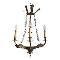 Small Swedish Empire Brass Four-Light Chandelier