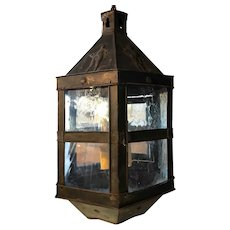 Belgian Patinated Copper Repousse and Glass Four-Light Hanging Lantern