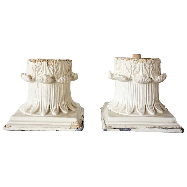 pair of american painted gesso pillar capitals eron johnson