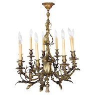 Small French Bronze Nine-Light Chandelier
