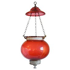 Small English Cranberry Glass Globe Hanging Hall Lantern
